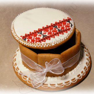 Zsúr mézeskalács doboz torta, sárközi mintával