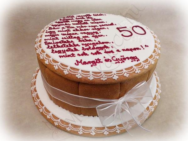 50. házassági évorduló ajándék mézeskalács doboz torta fehér tetővel, bordó személyes felirattal