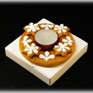 adventi mini mézeskalács koszorú hosszan égő, minőségi teamécsessel
