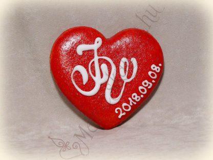 Monogramos mézeskalács szív