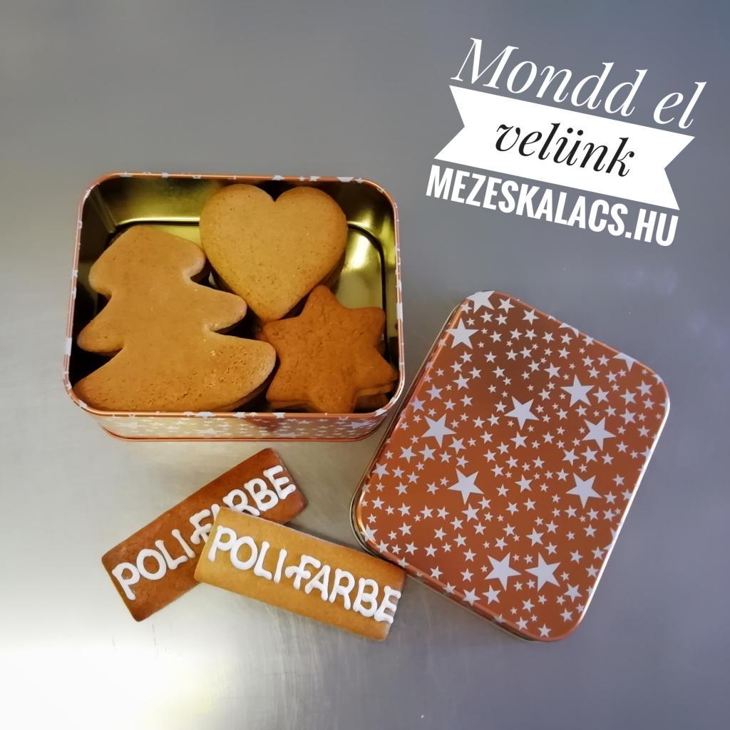 Poli-Farbe mézeskalácsok céges felirattal fémdobozban