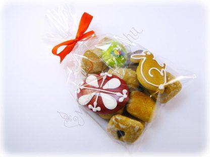 Húsvéti mézeskalács csomag puszedlivel, nyuszival, hímes tojással és zöld színű kézműves viasz tojás hűtőmágnessel