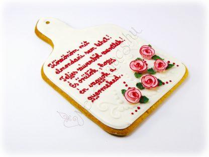 Klasszikus vágodeszka formájú mézeskalács rózsaszín cirmos rózsával, egyedi felirattal