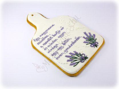 Klasszikus vágódeszka formájú mézeskalács levendula virággal, egyedi felirattal